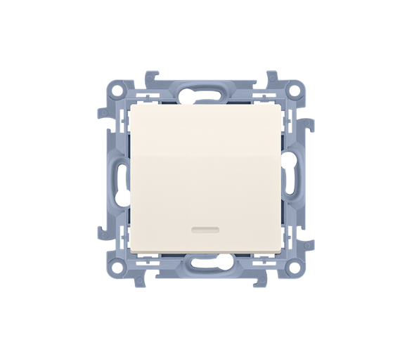 Przycisk pojedynczy zwierny bez piktogramu z podświetleniem LED kremowy 10AX
