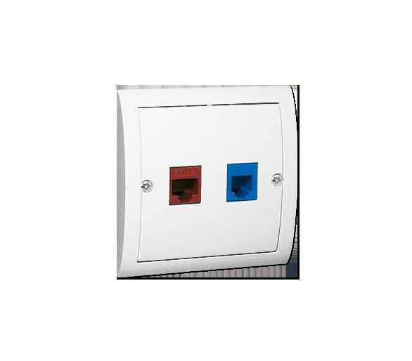 Gniazdo komputerowe RJ45 kategoria 5e + telefoniczne RJ12 biały M5T/11