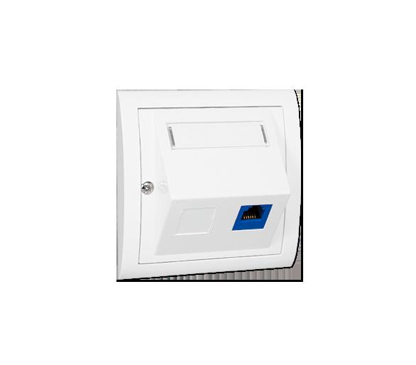Gniazdo telefoniczne pojedyncze RJ12 skośne biały MT1S/11