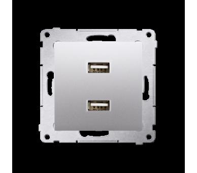 Ładowarka USB ładowarka USB podwójna srebrny mat, metalizowany