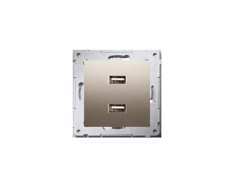 Ładowarka USB ładowarka USB podwójna złoty mat, metalizowany