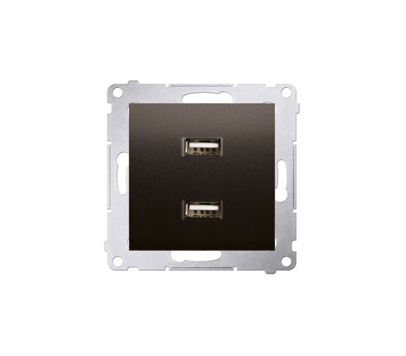 Ładowarka USB ładowarka USB podwójna brąz mat, metalizowany DC2USB.01/46