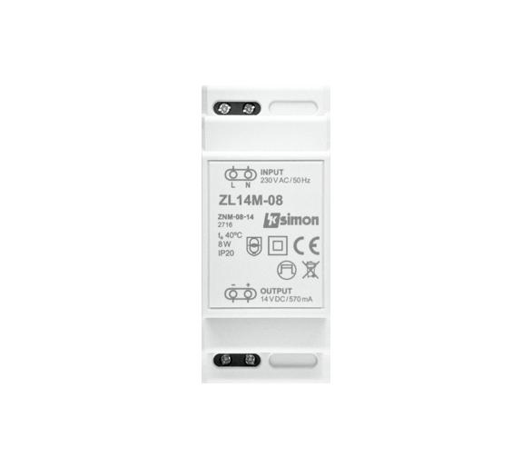 Zasilacz LED modułowy, 14V, DC,  8W. ZL14M-08