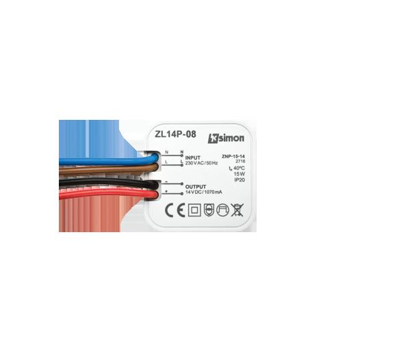 Zasilacz LED dopuszkowy 14V, DC, 15W. ZL14P-15