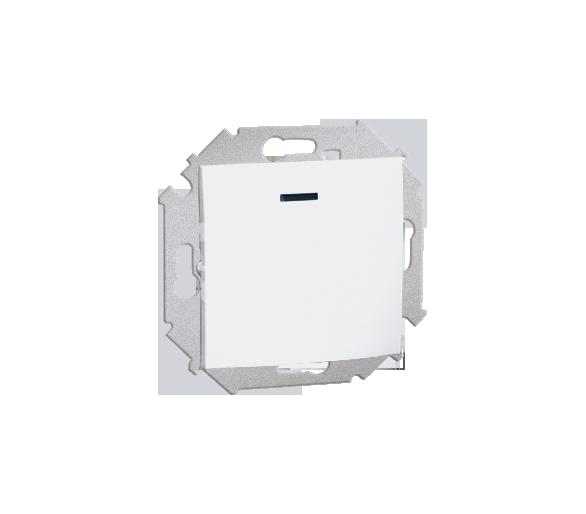 Łącznik jednobiegunowy z podświetleniem LED nie wymienialny kolor: czerwony (moduł) 16AX 250V, zaciski śrubowe, biały 1591104-03
