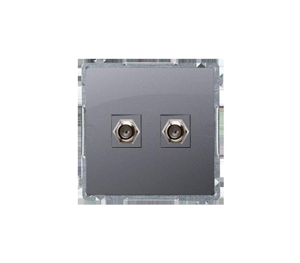 """Gniazdo antenowe typu """"F"""" podwójne srebrny mat, metalizowany BMAF2.01/43"""