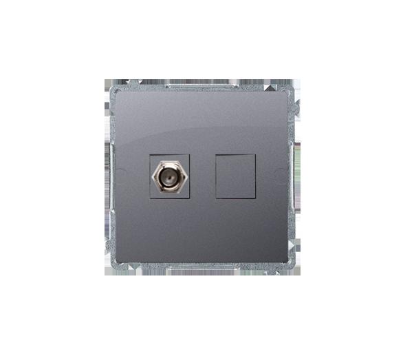 """Gniazdo antenowe typu """"F"""" pojedyncze srebrny mat, metalizowany BMAF1.01/43"""