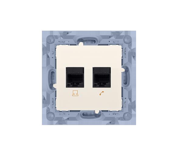 Gniazdo komputerowe RJ45 kategoria 5e + telefoniczne RJ11 kremowy C5T.01/41