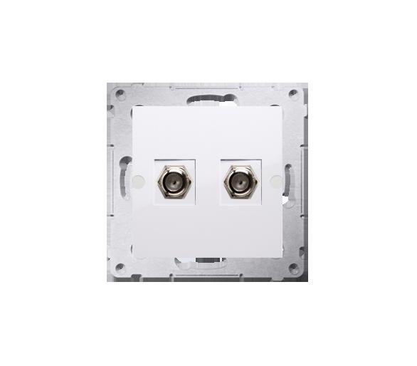 """Gniazdo antenowe typu """"F"""" podwójne biały DASF2.01/11"""