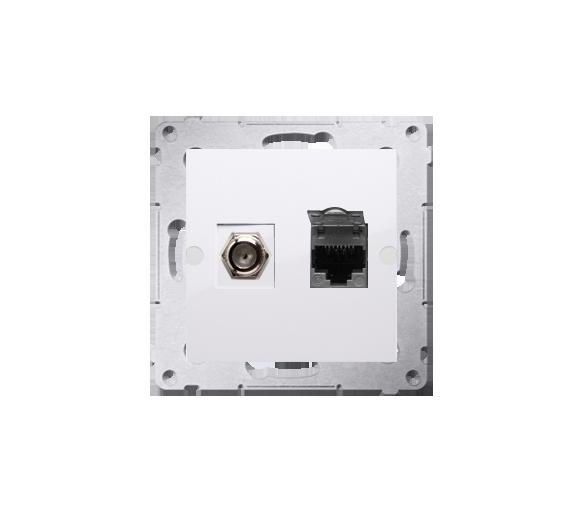 """Gniazdo antenowe typu """"F"""" + komputerowe RJ45 kat.6 biały DASFRJ45.01/11"""