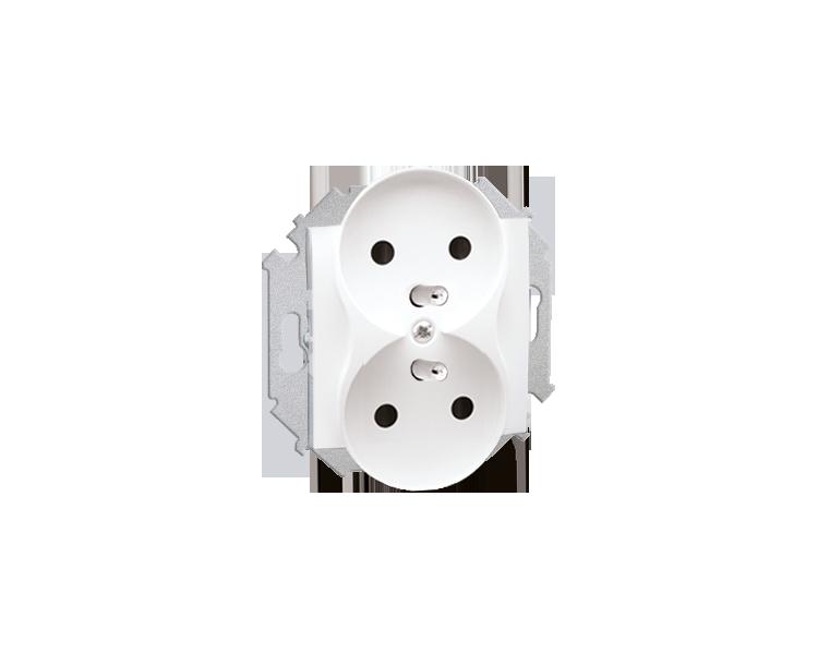 Gniazdo wtyczkowe podwójne z uziemieniem biały 16A 1591462-030