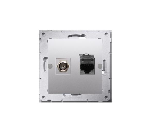"""Gniazdo antenowe typu """"F"""" + komputerowe RJ45 kat.6 srebrny mat, metalizowany DASFRJ45.01/43"""