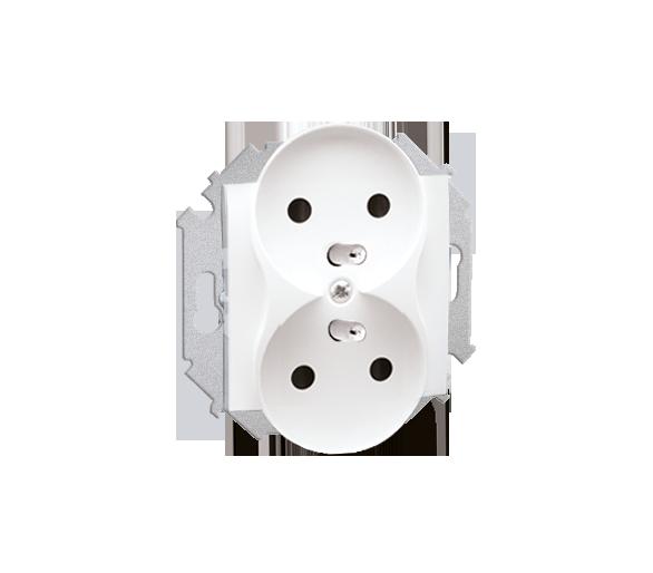 Gniazdo wtyczkowe podwójne z uziemieniem z przesłonami biały 16A 1591461-030