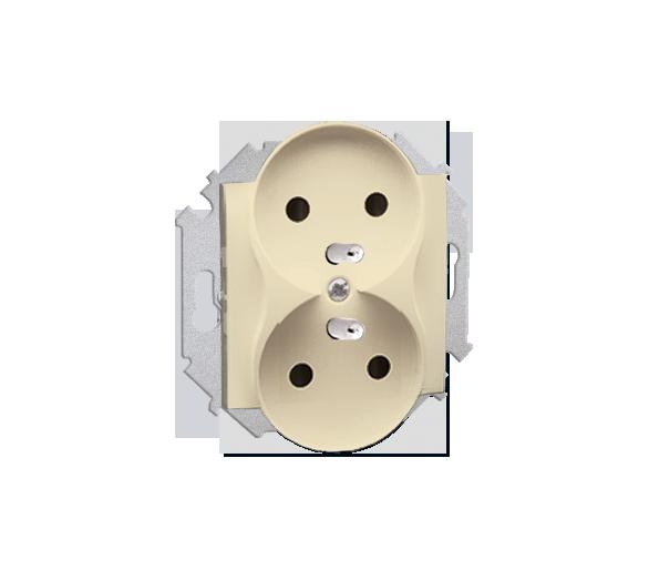 Gniazdo wtyczkowe podwójne z uziemieniem z przesłonami beżowy 16A 1591461-031