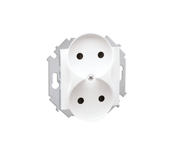 Gniazdo wtyczkowe podwójne bez uziemienia biały 16A