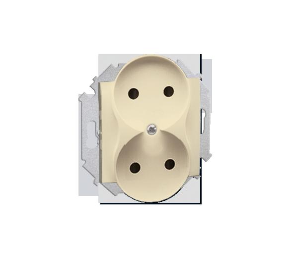 Gniazdo wtyczkowe podwójne bez uziemienia beżowy 16A
