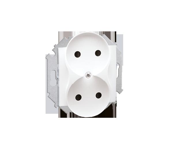 Gniazdo wtyczkowe podwójne bez uziemienia z przesłonami torów prądowych biały 16A