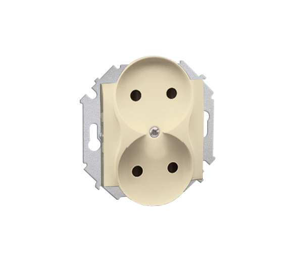 Gniazdo wtyczkowe podwójne bez uziemienia z przesłonami torów prądowych beżowy 16A 1591463-031