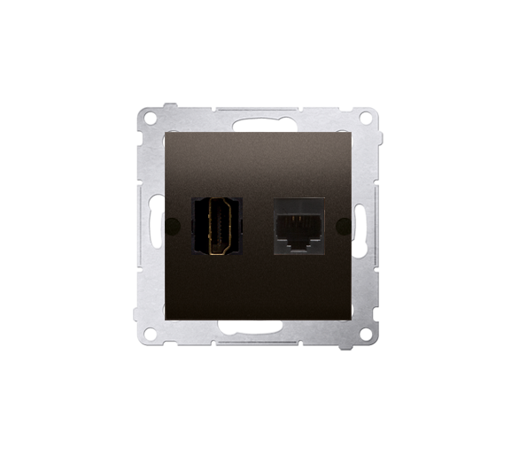 Gniazdo HDMI + komputerowe RJ45 kat.6. brąz mat, metalizowany