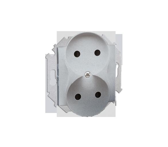 Gniazdo wtyczkowe podwójne bez uziemienia z przesłonami torów prądowych aluminiowy, metalizowany 16A 1591463-026