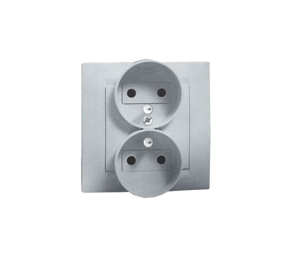Gniazdo wtyczkowe podwójne z uziemieniem aluminiowy, metalizowany 16A 1591456-026