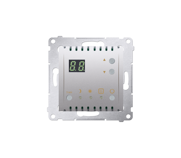 Regulator temperatury z wyświetlaczem (czujnik wewnętrzny) srebrny mat, metalizowany
