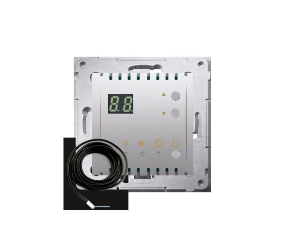 Regulator temperatury z wyświetlaczem z czujnikiem zewnętrzym (sonda) srebrny mat, metalizowany DTRNSZ.01/43