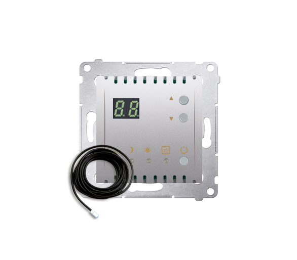 Regulator temperatury z wyświetlaczem z czujnikiem zewnętrzym (sonda) złoty mat, metalizowany