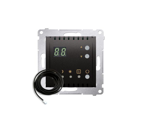 Regulator temperatury z wyświetlaczem z czujnikiem zewnętrzym (sonda) antracyt, metalizowany