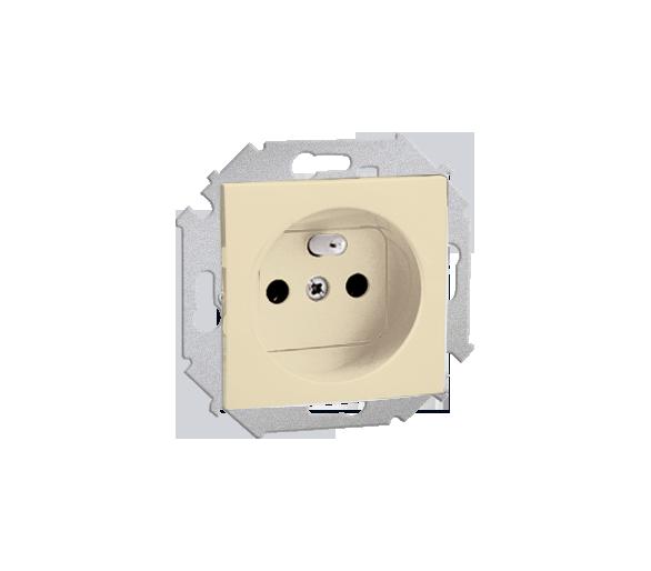 Gniazdo wtyczkowe podwójne z uziemieniem z przesłonami beżowy 16A 1591418-031