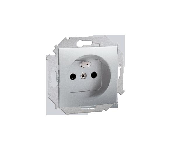Gniazdo wtyczkowe podwójne z uziemieniem z przesłonami aluminiowy, metalizowany 16A 1591418-026