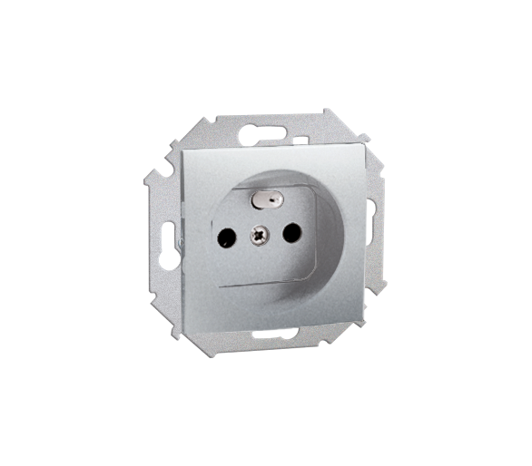 Gniazdo wtyczkowe pojedyncze z uziemieniem z przesłonami aluminiowy, metalizowany 16A 1591418-026