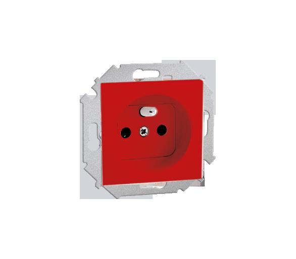Gniazdo wtyczkowe podwójne z uziemieniem z przesłonami czerwony 16A 1591418-037