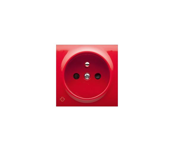 Pokrywa do gniazda wtyczkowego pojedynczego z uziemieniem antybakteryjny czerwony DGZ1ZP/AB22