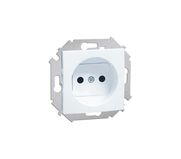 Gniazdo wtyczkowe podwójne bez uziemienia z przesłonami torów prądowych biały 16A 1591414-030