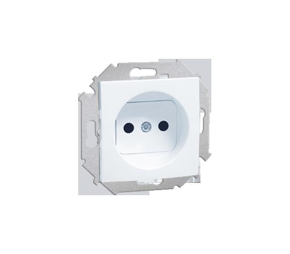 Gniazdo wtyczkowe pojedyncze bez uziemienia z przesłonami torów prądowych biały 16A 1591414-030