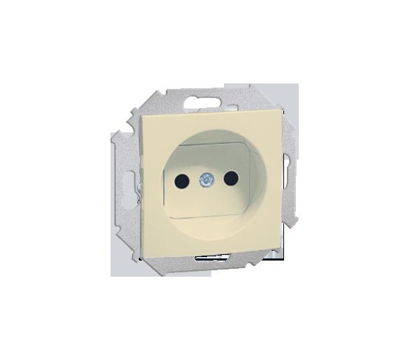 Gniazdo wtyczkowe podwójne bez uziemienia z przesłonami torów prądowych beżowy 16A 1591414-031