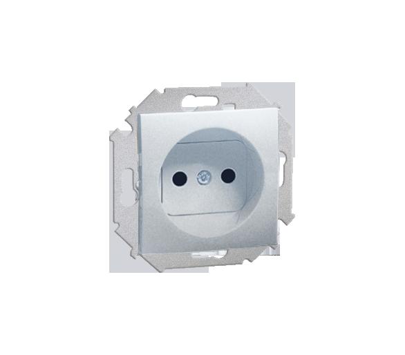 Gniazdo wtyczkowe podwójne bez uziemienia z przesłonami torów prądowych aluminiowy, metalizowany 16A