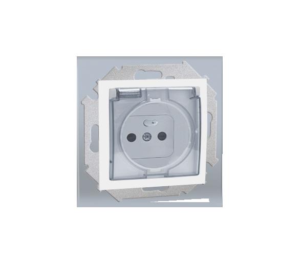 Gniazdo wtyczkowe pojedyncze do wersji IP44 z przesłonami torów prądowych - z uszczelką - klapka w kolorze transparentnym biały