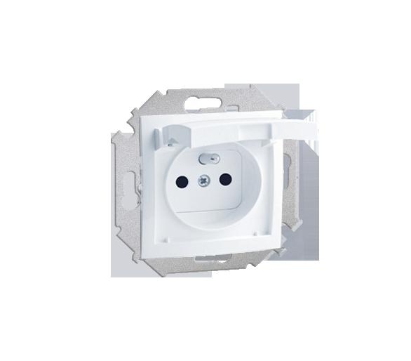 Gniazdo wtyczkowe pojedyncze do wersji IP44 z przesłonami torów prądowych - z uszczelką - klapka w kolorze pokrywy biały 16A 159