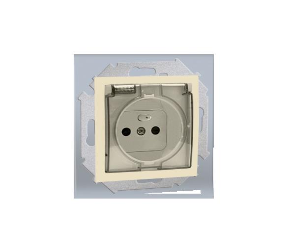 Gniazdo wtyczkowe pojedyncze do wersji IP44  - bez uszczelki -  klapka w kolorze transparentnym - do ramek wielokrotnych beżowy