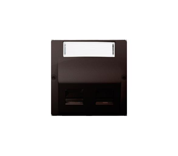 Pokrywa gniazd teleinformatycznych na PANDUIT, skośna podwójna z polem opisowym czekoladowy mat, metalizowany BMGPS2P.02/47