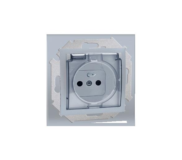 Gniazdo wtyczkowe pojedyncze do wersji IP44  - bez uszczelki -  klapka w kolorze transparentnym - do ramek wielokrotnych alumini