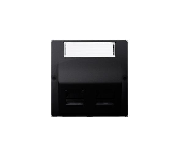 Pokrywa gniazd teleinformatycznych na PANDUIT, skośna podwójna z polem opisowym grafit mat, metalizowany BMGPS2P.02/28