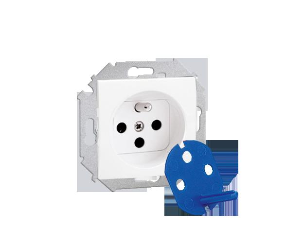 Gniazdo wtyczkowe pojedyncze DATA z kluczem uprawniającym biały 16A 1591460-030