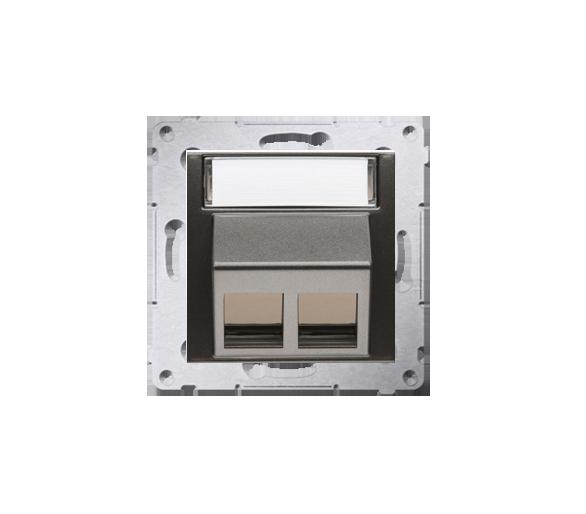 Pokrywa gniazd teleinformatycznych na Keystone skośna podwójna antracyt, metalizowany DKP2S.01/48