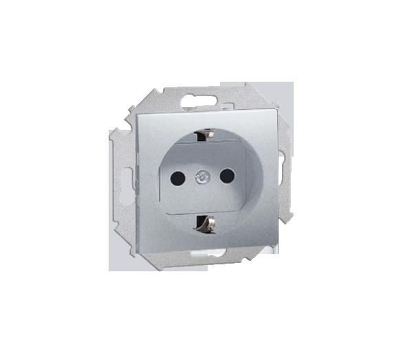 Gniazdo wtyczkowe pojedyncze z uziemieniem typu Schuko aluminiowy, metalizowany 16A 1591432-026