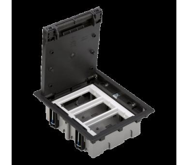 Puszka podłogowa SF prostokątna 6×K45 3×S500 70mm÷105mm szary grafit 52050003-038