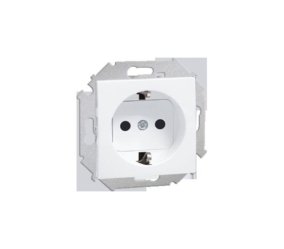Gniazdo wtyczkowe pojedyncze z uziemieniem typu Schuko z przesłonami torów prądowych biały 16A 1591443-030