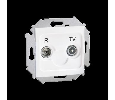 Gniazdo antenowe R-TV przelotowe tłum.:10dB biały 1591487-030